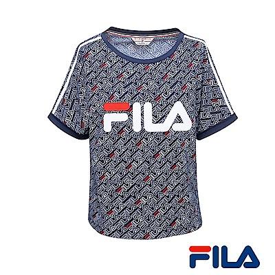 FILA女性全印Logo T恤(學院藍) 5 TER- 1435 -NV