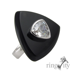 RingCity 黑瑪瑙三角鋯石造型戒