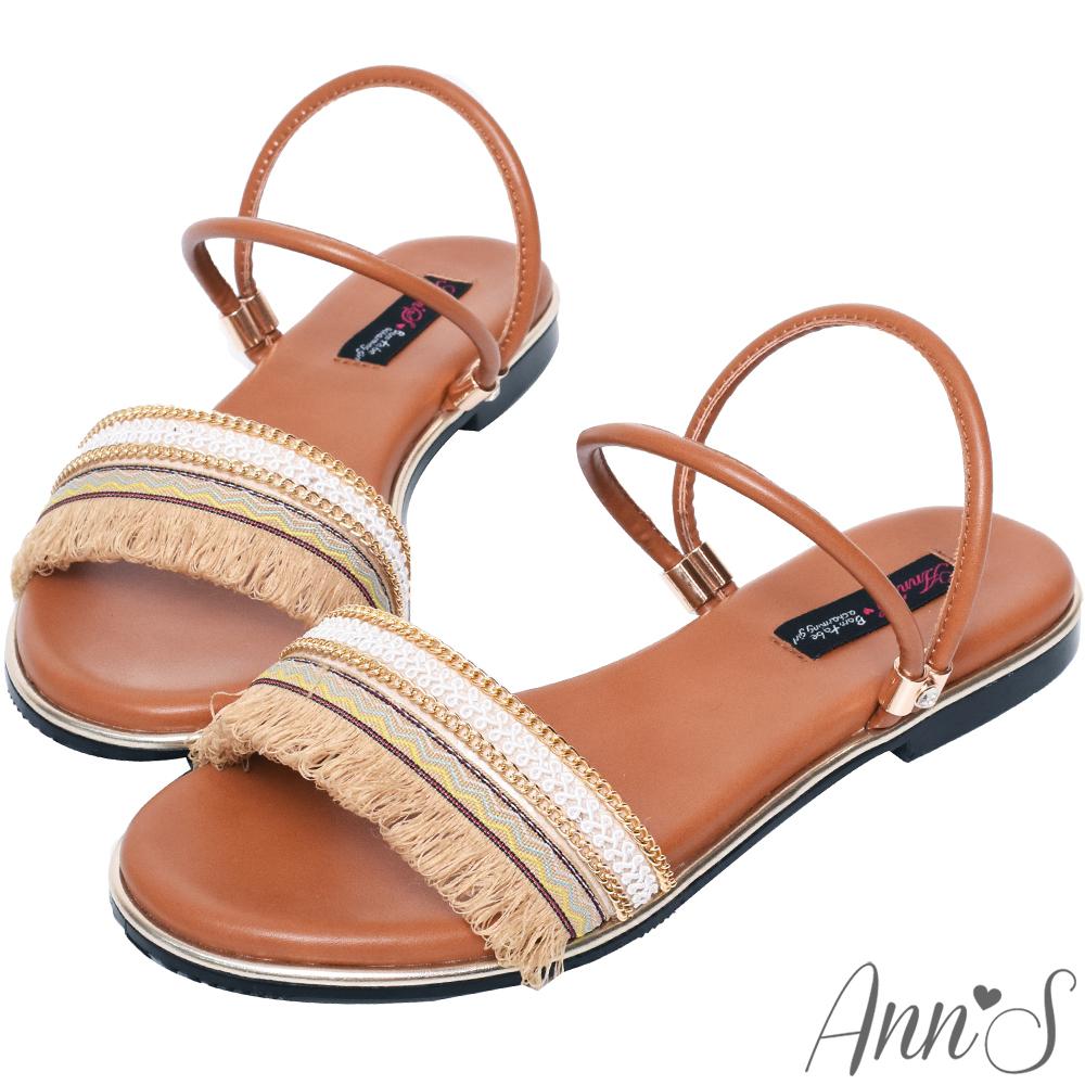 Ann'S波西米亞流蘇兩穿寬版平底涼鞋-棕