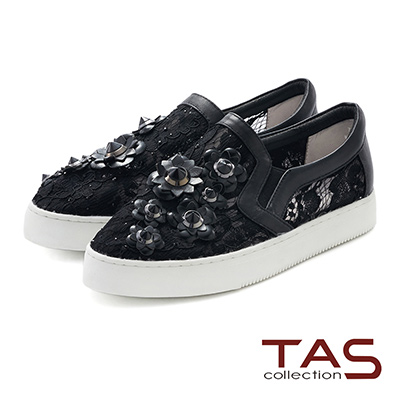 TAS 立體釘花蕾絲水鑽休閒鞋-華麗黑
