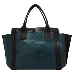 CHLOE 經典Alison系列撞色拼接牛皮手提包(小-黑X熱帶藍)