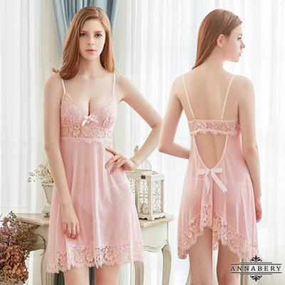 大尺碼甜心粉紅透視柔紗美背二件式性感睡衣 粉L-2L Annabery