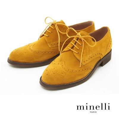Minelli--葡萄牙製造 麂皮雕花德比平底鞋-芥末黃