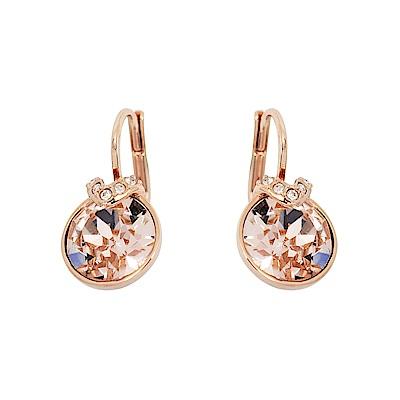 SWAROVSKI 施華洛世奇 V型透明圓形水晶造型玫瑰金耳環