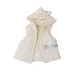 圍巾熊厚棉連帽背心外套 黃 k60217
