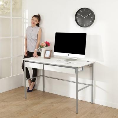 BuyJM簡單型低甲醛粗管仿白馬鞍皮雙抽工作桌(寬120cm)-DIY
