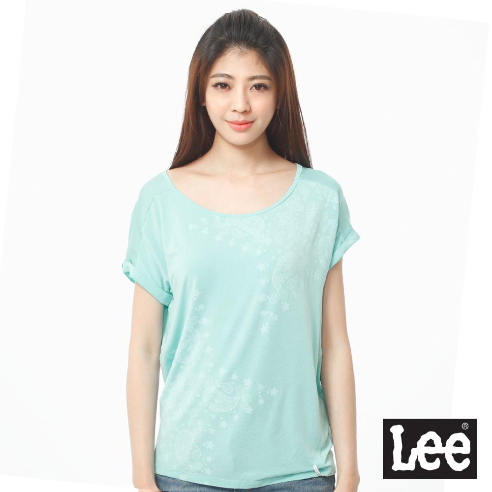 Lee 短袖T恤 連袖布料拼接變形蟲印花設計-女款(湖水綠)