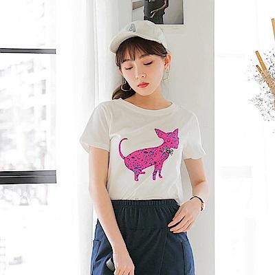 台灣製造.豹紋貓咪剪影燙印高含棉羅紋圓領上衣.2色-OB大尺碼