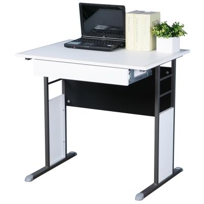 Homelike 巧思辦公桌 炫灰系列-白色仿馬鞍皮80cm(附抽屜)