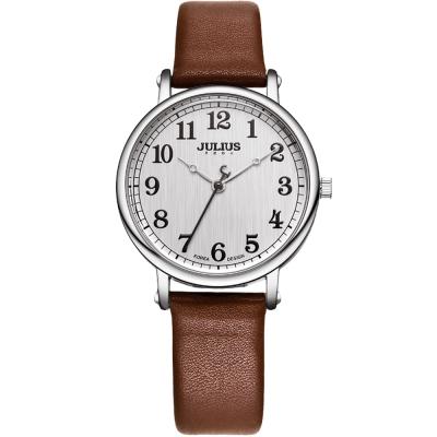 JULIUS聚利時 復刻回憶數字皮革錶帶腕錶-咖啡/34mm