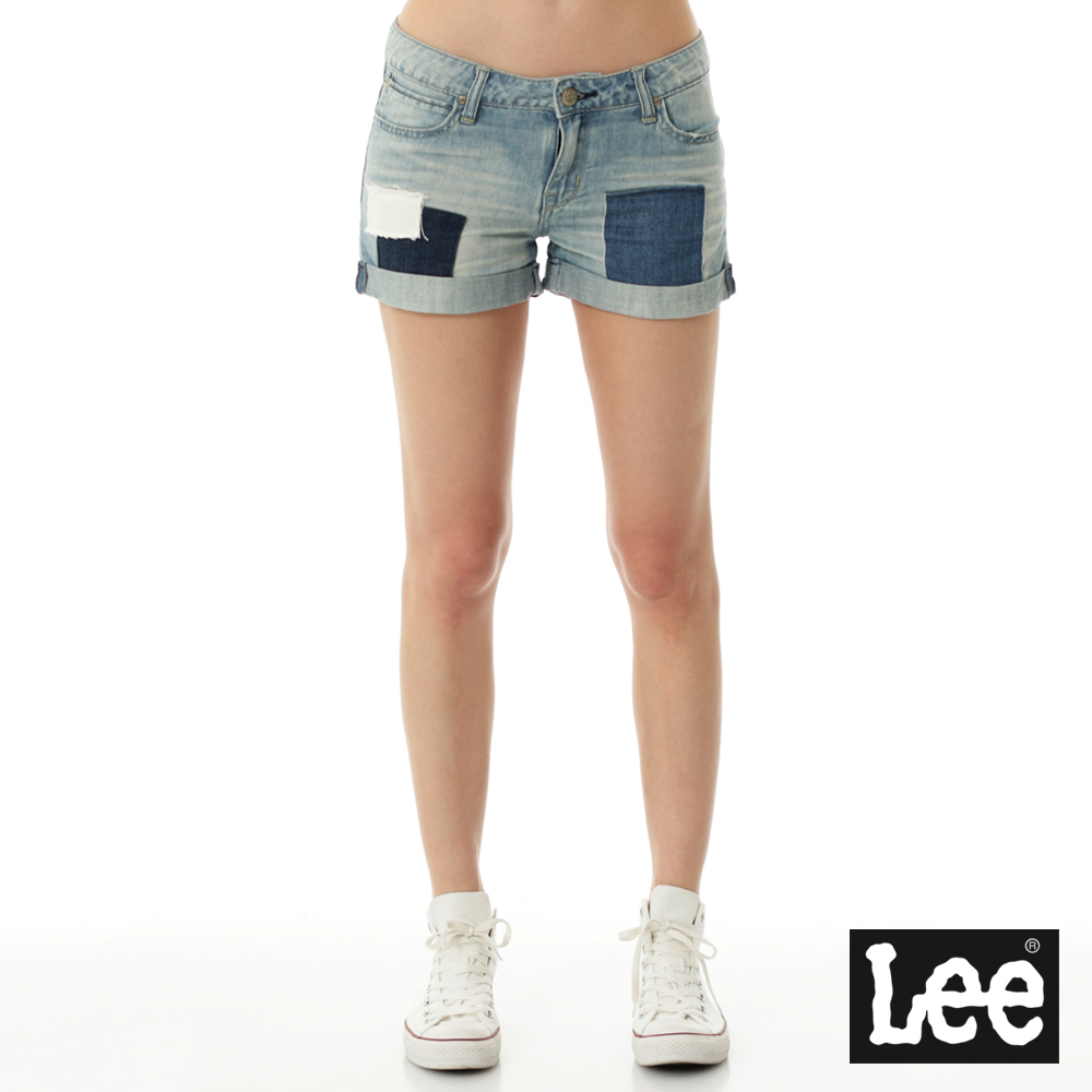 Lee 牛仔拼接短褲Vintage Laundry系列-女款-淺藍
