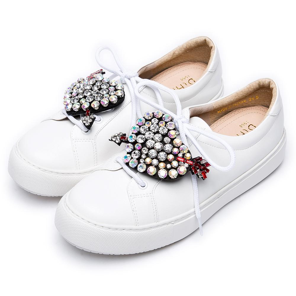 DIANA 漫步雲端焦糖美人款--可拆式愛心水鑽綁帶輕量休閒鞋-白