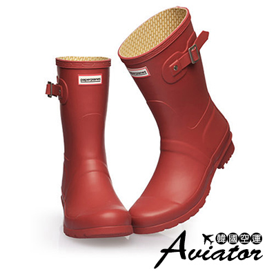 Aviator*韓國空運-Paperplanes質感扣帶防水低筒雨靴-紅