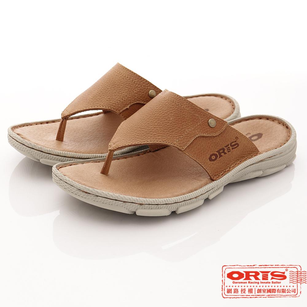 ORIS男款 真皮時尚流行腳夾拖鞋 咖-SA17392L05