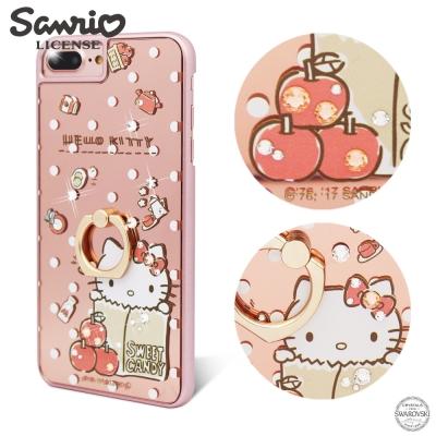 三麗鷗 Kitty iPhone8/7/6s Plus 鏡面指環扣水晶手機殼-蘋...