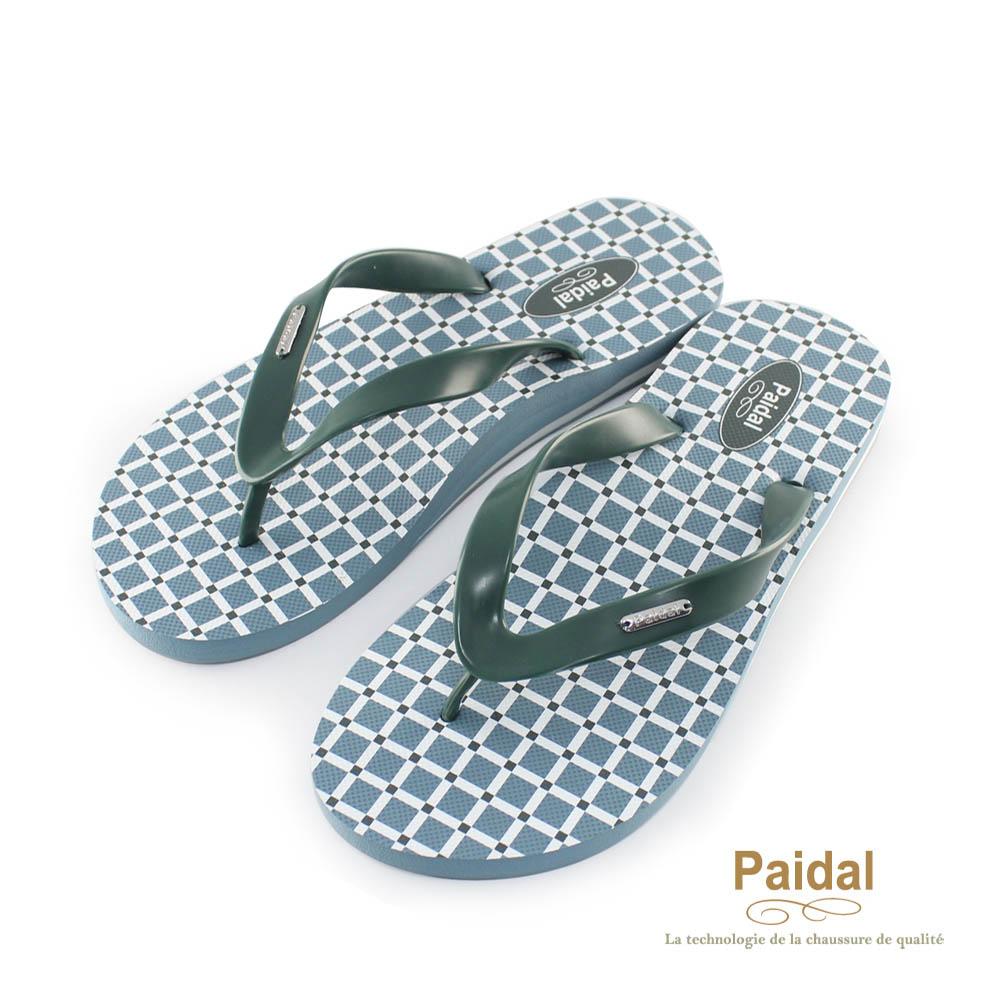 Paidal 男款簡單生活方格夾腳拖海灘拖人字拖鞋-藍