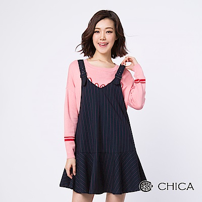 CHICA 歌詠青春90年代條紋吊帶洋裝(2色)