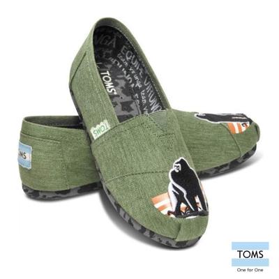 TOMS 動物主題懶人鞋-孩童款(水洗綠)