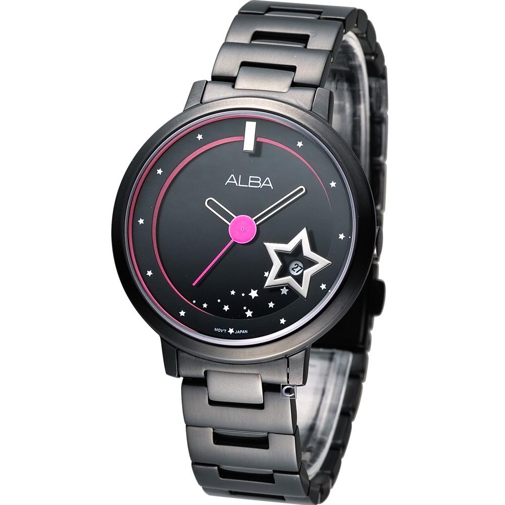 ALBA Fashion Lady 星光滿屋時尚腕錶-黑/38mm