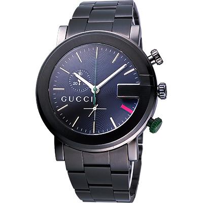 GUCCI-G-chrono-頂尖時尚計時碼錶-IP黑