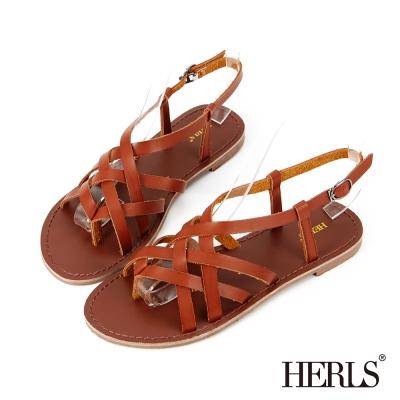 HERLS-清新小文青 編織羅馬涼鞋-棕色