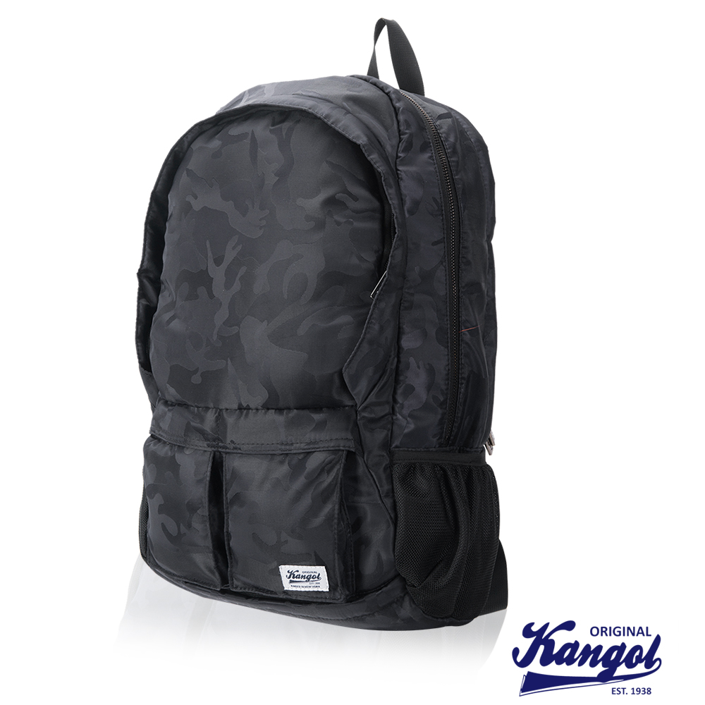 KANGOL 英式時尚輕時尚休閒13吋筆電後背包防潑水尼龍-迷彩灰