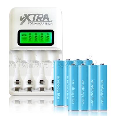 國際牌藍鑽輕量4號充電電池(8顆入)+VXTRA LCD 充電器