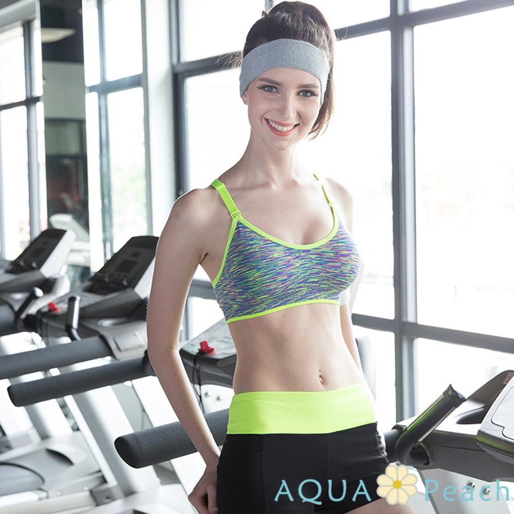 運動內衣 混色系挖背式可調肩帶運動背心 (黃色)-AQUA Peach