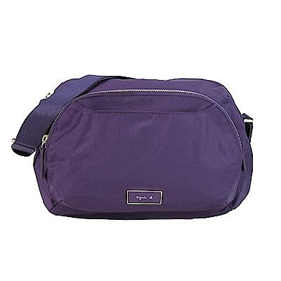 agnes b.金屬框邊雙層斜背包-紫