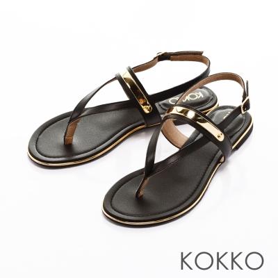 KOKKO-Y字金屬夾腳牛皮平底繫帶涼鞋-黑色