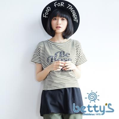 betty's貝蒂思 蕾絲簍空英文字樣條紋兩件式上衣(綠色)