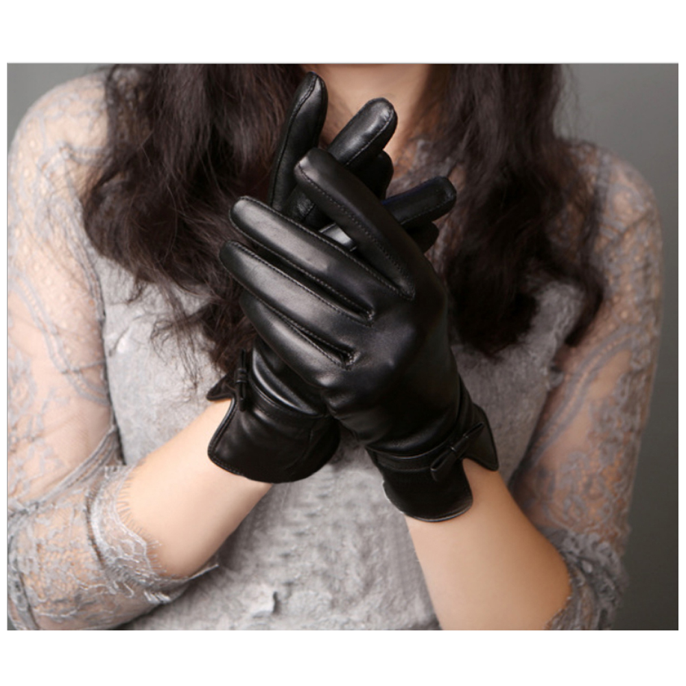 ego life小羊皮V型腕口蝴蝶結觸控保暖女手套 黑色