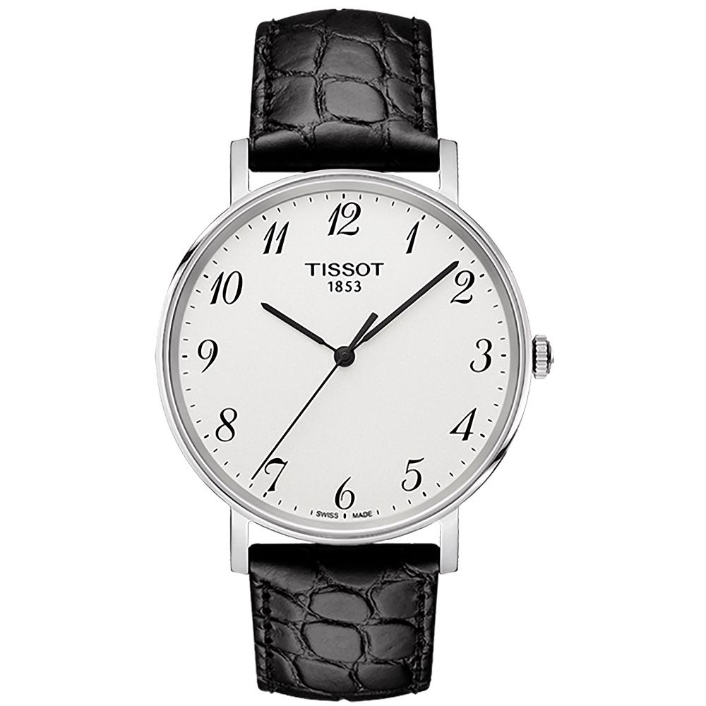 TISSOT 天梭 Everytime 雋永明朗大三針腕錶-銀白x黑/38mm
