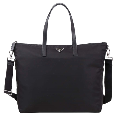 PRADA 三角牌尼龍兩用旅行袋(黑色)