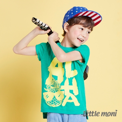 Little moni 夏日Aloha短袖上衣 碧綠