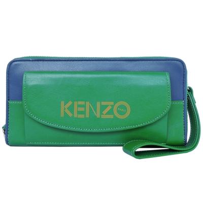KENZO 前口袋雙色ㄇ字拉鍊長夾-(藍綠)(附手掛帶)