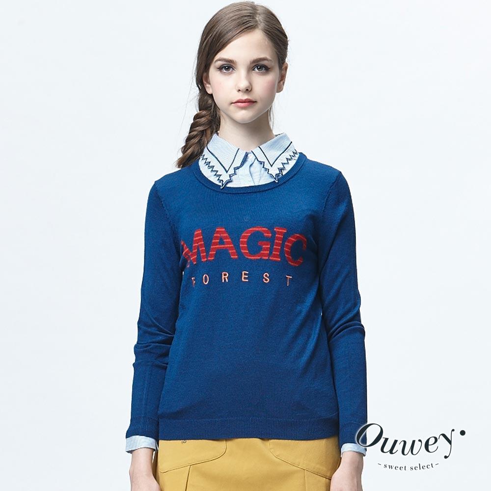 OUWEY歐薇條紋緹織文字刺繡毛衣共2色