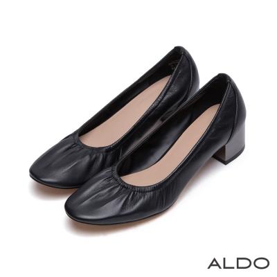 ALDO-原色真皮皺褶夾心鏡面粗跟鞋-尊爵黑色
