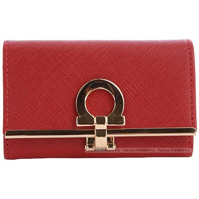 Ferragamo-防刮-牛皮-鑰匙包-紅色-鎖包