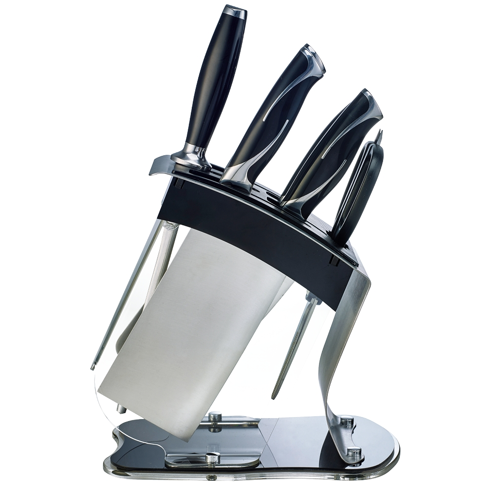 米雅可Miyaco-黑晶七件刀具組(附壓克力刀座)