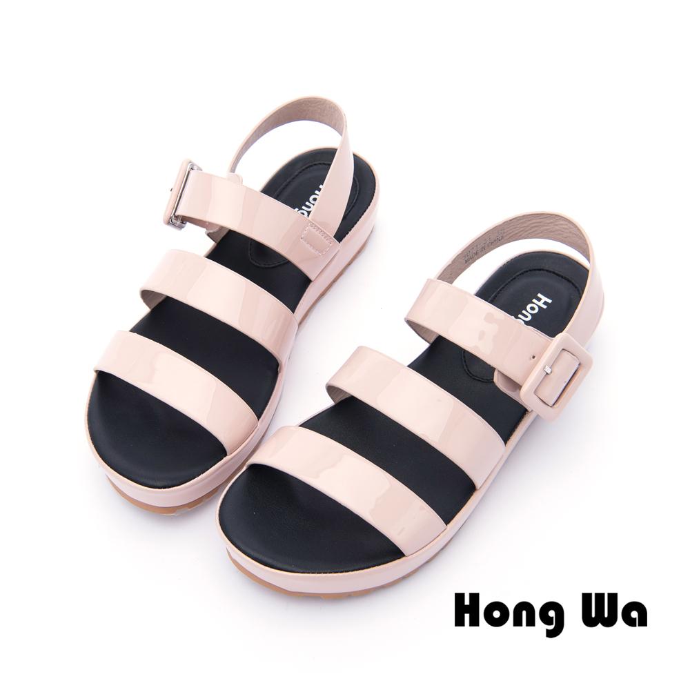 Hong Wa - 夏日派對漆皮釦環羅馬涼鞋 - 粉
