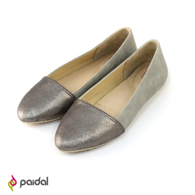 Paidal細緻簡約拼接尖頭包鞋尖頭鞋-霧銀