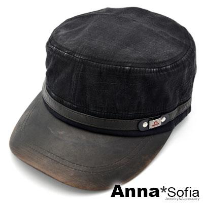 AnnaSofia 舊刷紋革簷 水洗棉質防曬遮陽嘻哈棒球帽軍帽(黑系)
