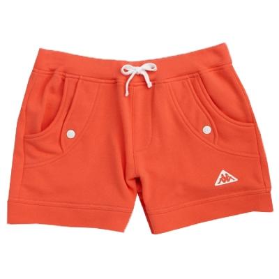 KAPPA義大利 純棉女法式針織短褲 橘 白色