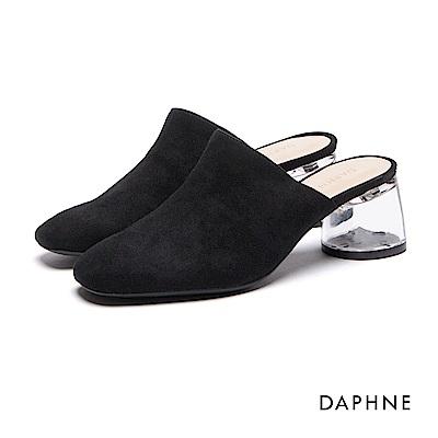 達芙妮DAPHNE 高跟鞋-透明鞋跟布面穆勒鞋-黑