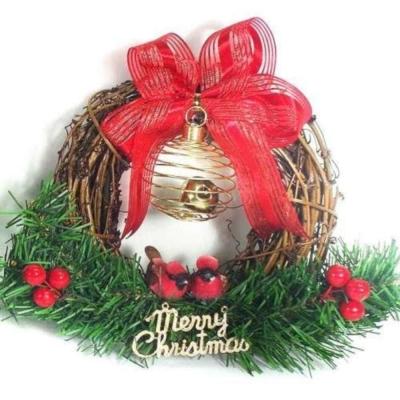 樹藤鈴鐺復古對鳥聖誕花圈