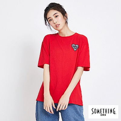 SOMETHING 愛心落肩休閒短袖T恤-女-紅色
