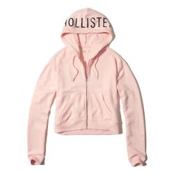 HCO Hollister 海鷗 經典印刷文字連帽外套(女)-粉色