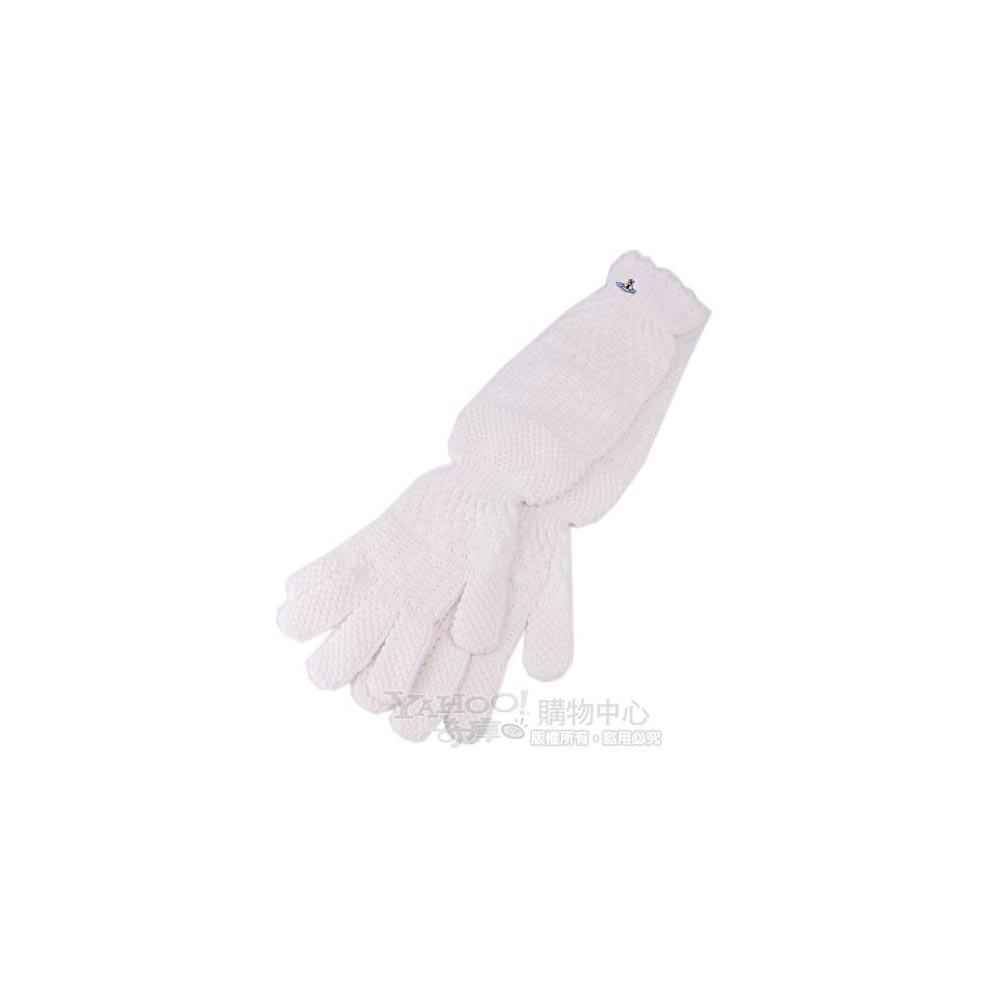 Vivienne Westwood 刺繡彩色行星LOGO毛線長手套(白)