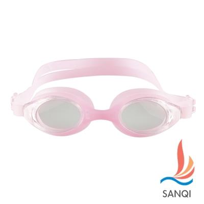 SANQI三奇 夏日必備抗UV防霧休閒泳鏡(4200-淺粉F)